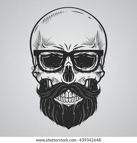 Bearded skull illustration - stock vector