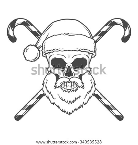 Bearded Skull Santa Claus with candy canes and glasses poster. Vintage Christmas old man portrait. X-mas t-shirt illustration. - stock vector