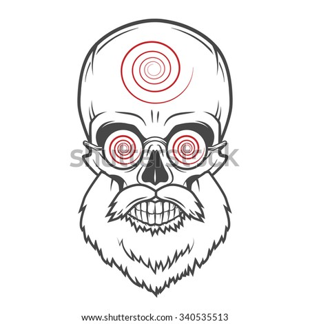 Bearded skull with hypnotic glasses. Crazy steampunk magician portrait. Dead victorian old man vintage logo