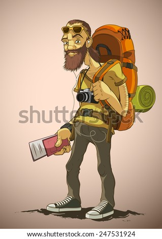 Bearded traveler with a large backpack - stock vector
