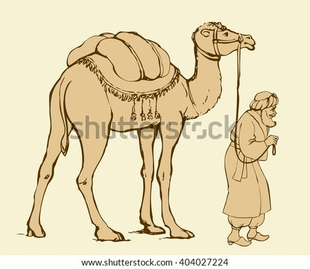 Bearded wanderer Eliezer go to worship Jesus Christ in Bethlehem in retro middle east judaic biblic wear lead Camelus, baggage loaded to carry in desert. Ink drawn sketch picture with space for text - stock vector