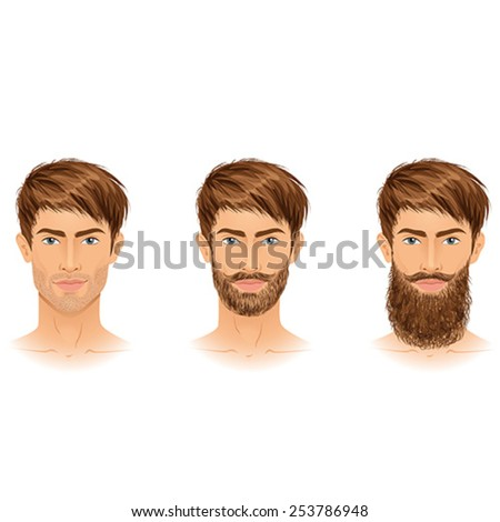 Beards styles, three options. Isolated vector illustration. - stock vector