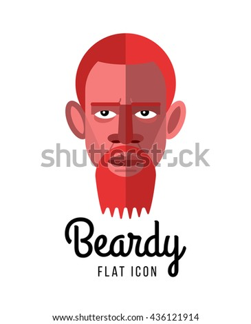 Beardy. Flat style vector icon. Symbol of serious face of a man on white background.