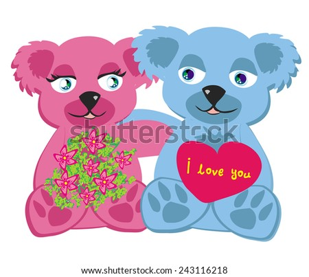 bears in love , isolated illustration - stock vector