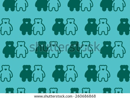 Bears pattern color set - stock vector