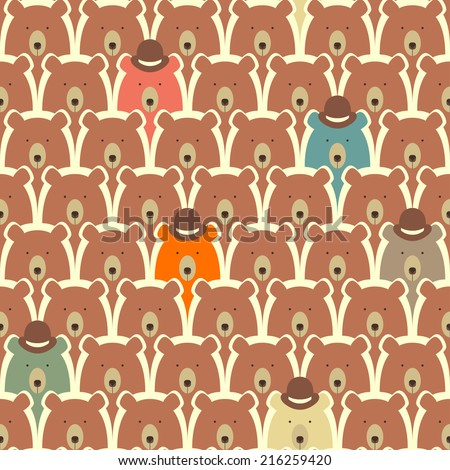 Bears seamless cartoon pattern - stock vector