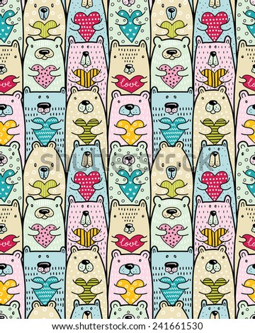 Bears with hearts. Vector seamless pattern - stock vector
