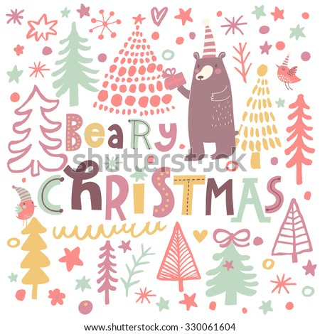 Beary Christmas - lovely holiday card in cartoon style. Sweet bear with gifts in winter forest.  Awesome background with fir trees, birds and animals in vector  - stock vector