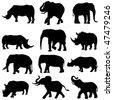 Beast duel: Elephants and rhinos - stock vector