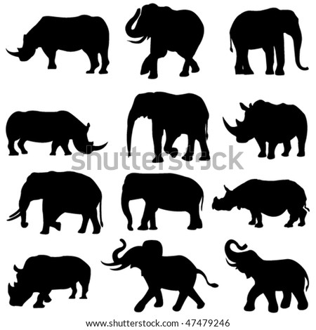 Beast duel: Elephants and rhinos - stock vector