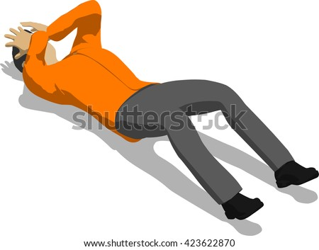 Beaten Street Fighter Lying On The Floor. Young Thin Man In Orange Shirt. 3d