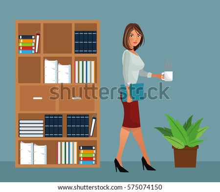 woman office furniture. beaut woman holding coffee office furniture pot plant i