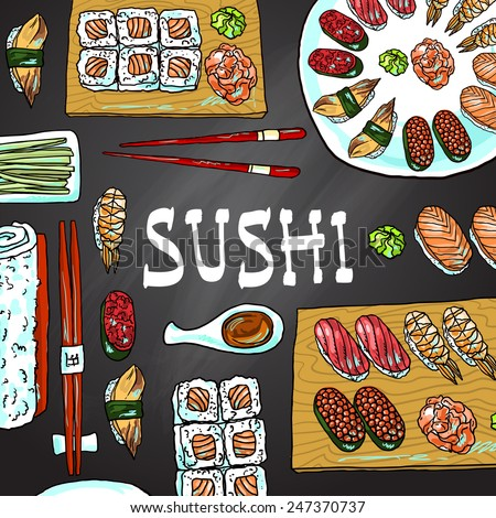 Beautifui hand drawn illustration japanese food for your design