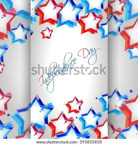 Beautiful abstract American Independence Day concept with starts and text Fourth of July. - stock vector