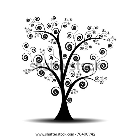 Beautiful abstract art tree on white background