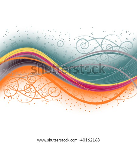 beautiful abstract background with wavy lines and ornaments