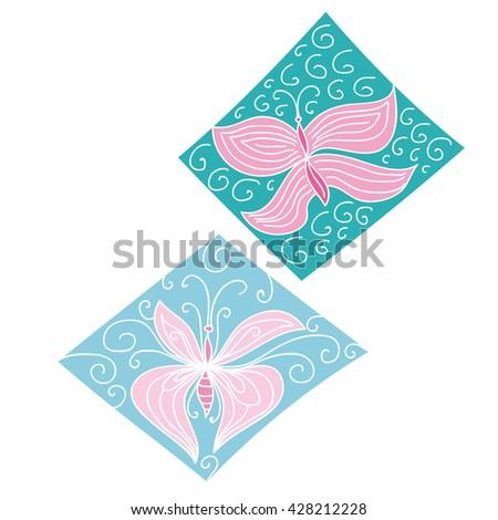 Beautiful abstract butterflies - stock vector