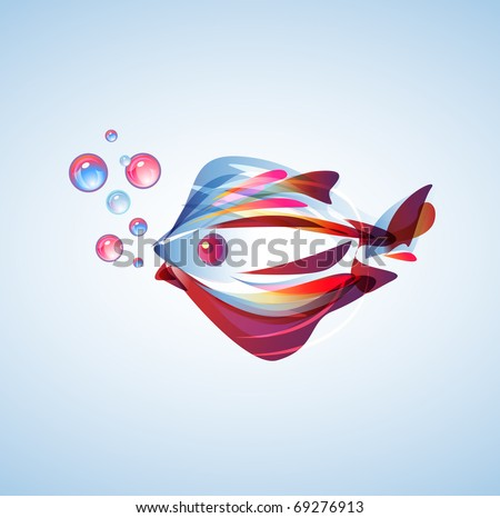 Beautiful abstract fish with bright multicolor lines - stock vector