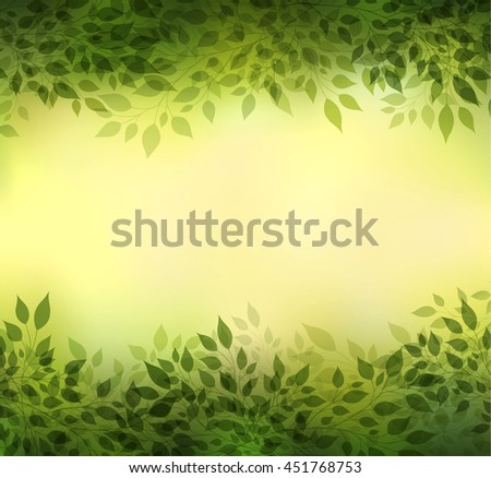Beautiful abstract green background with branches and leaves