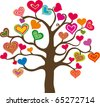 beautiful abstract heart tree on white background - stock photo