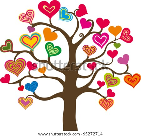 beautiful abstract heart tree on white background - stock vector