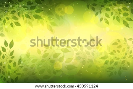 Beautiful abstract light background with branches and leaves