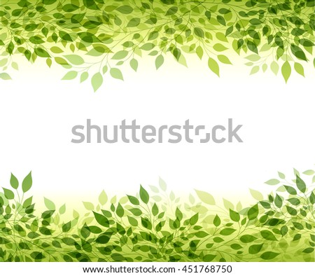 Beautiful abstract light background with green branches and leaves