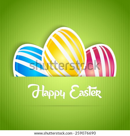 Beautiful Abstract of Easter with set of multicolour eggs in a green background.  - stock vector