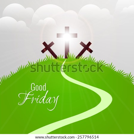 beautiful abstract of Good Friday contains three cross in a cloudy background. - stock vector