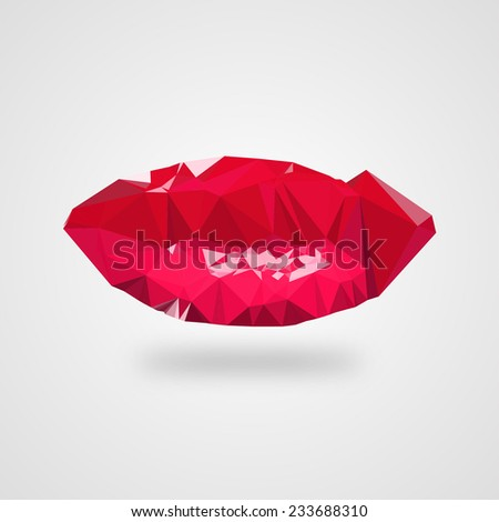 Beautiful abstract red female lips on a light grey background. Editable vector. - stock vector