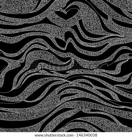 Beautiful abstract seamless pattern with black and white curling lines