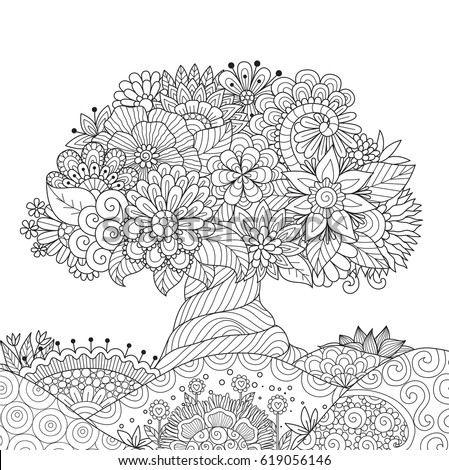 beautiful abstract tree for design element and adult coloring book vector illustration - Design Coloring Books