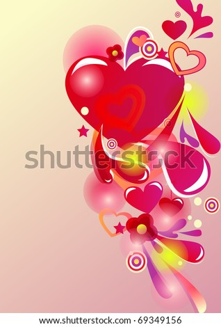 Beautiful abstract vector background with hearts and bright multicolor lines - stock vector