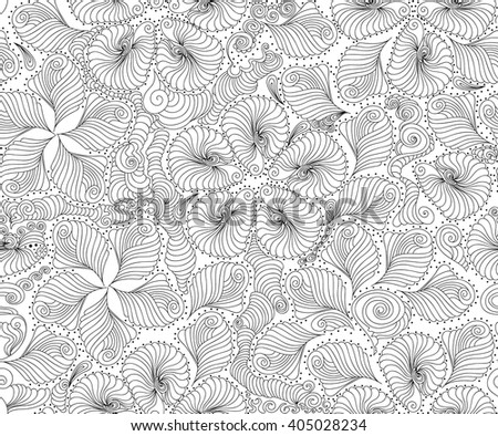 Beautiful abstract vector seamless pattern with flowers, petals, plants, curling figured lines and nature ornaments. You can use any color of background - stock vector