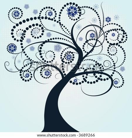 beautiful abstract vector winter tree design - stock vector