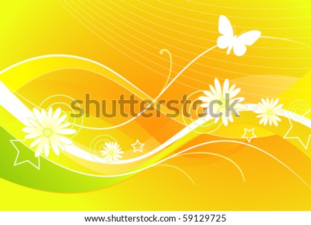 Beautiful abstract with flowers and butterfly - stock vector