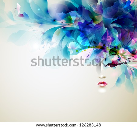 Beautiful abstract women with abstract  design elements - stock vector