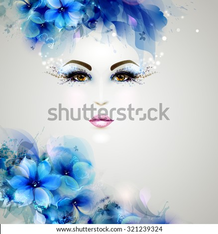 Beautiful abstract women with abstract design natural floral elements - stock vector