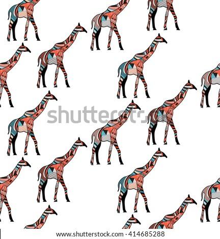 Beautiful adult Giraffe seamless background. Hand drawn Illustration of ornamental giraffe. - stock vector