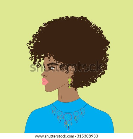 Beautiful African American woman with curly hair and earring, necklace with dream catchers. Vector.