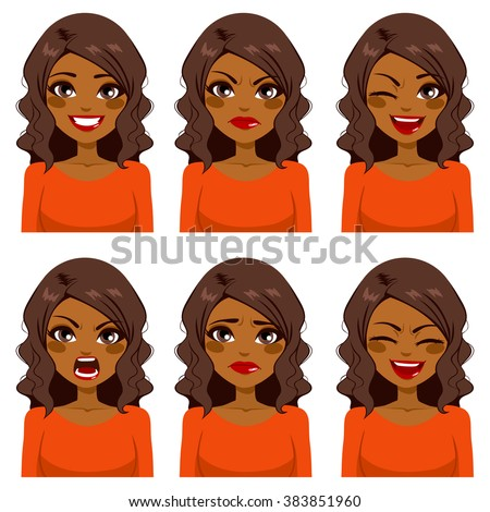 Beautiful African American woman with curly hair making six different face expressions set with red shirt - stock vector