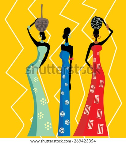 Beautiful african women. No transparency and gradients used. - stock vector