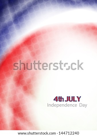 beautiful american flag theme background with waves and halftone for independence day. vector illustration - stock vector