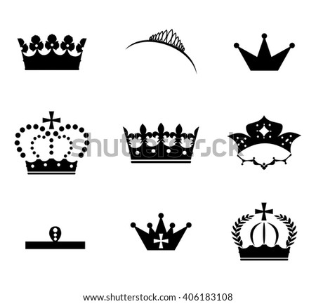 beautiful and diverse set of crowns in the style of a flat design.