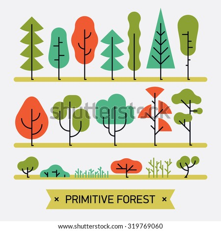 Beautiful and simple primitive forms flat vector forest plats, trees, bushes and shrubs | Minimalistic nature design elements set - stock vector