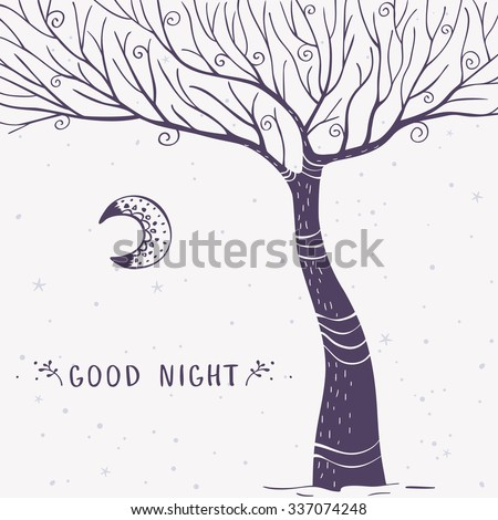 Beautiful and stylish card with magnificent tree and sample text. Vector doodle illustration. - stock vector
