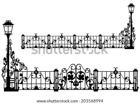 beautiful antique iron fence with street light and gates among rose flowers - black vector silhouette - stock vector