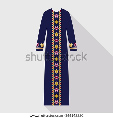 Beautiful arabian abaya in flat style. Muslim hijab, islamic female dress. Long dress in gold, red and blue colors. - stock vector