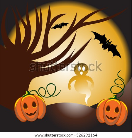 Beautiful art creative colorful halloween holiday vector illustration of bare tree ghost bat pumpkins and big round yellow moon