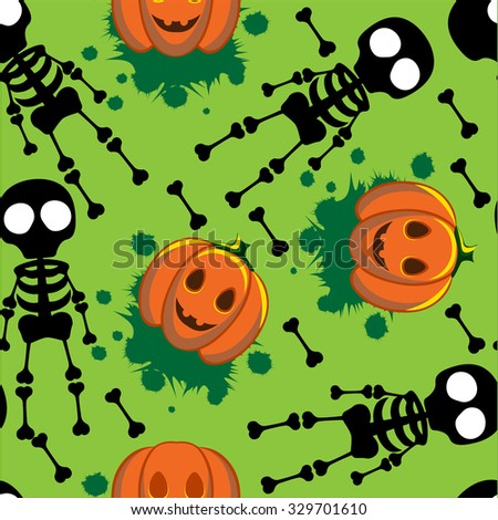 Beautiful art creative colorful halloween holiday wallpaper vector illustration of black skeletons human bones and orange pumpkins on green seamless background